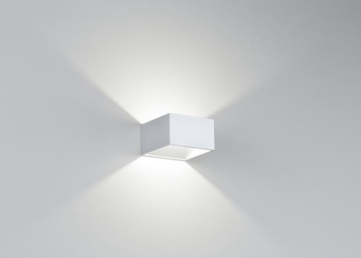 Applique da parete led 6w cubo luce calda in metallo bianco