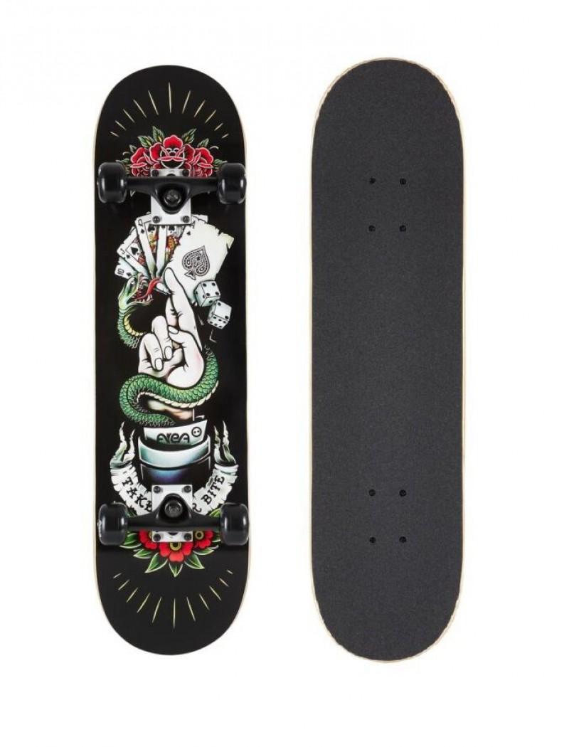 Skateboard Professionale Senior TYB Black Carte Poker Completo con Ruote