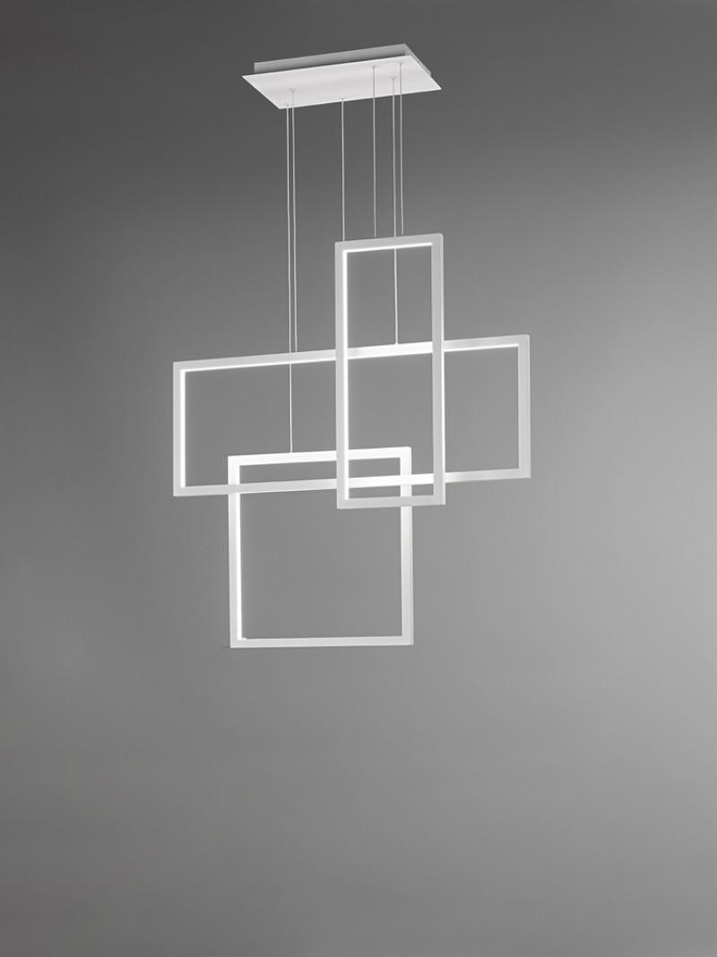 Lampadario a Led per Interni Bianco Opaco Design Moderno 3 Riquadri Perenz