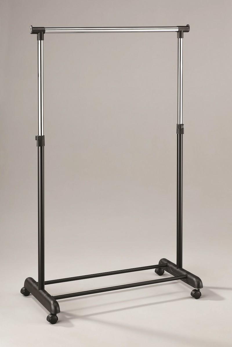 Stender Singolo in Metallo Cromato Nero Appendiabiti Transat 84x44x163 cm