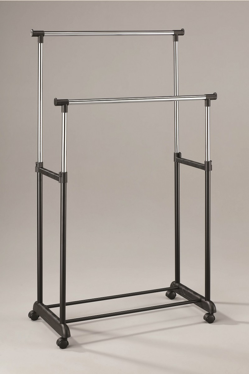 Stender Doppio in Metallo Cromato Nero Transat Appendiabiti 81x43x160 cm