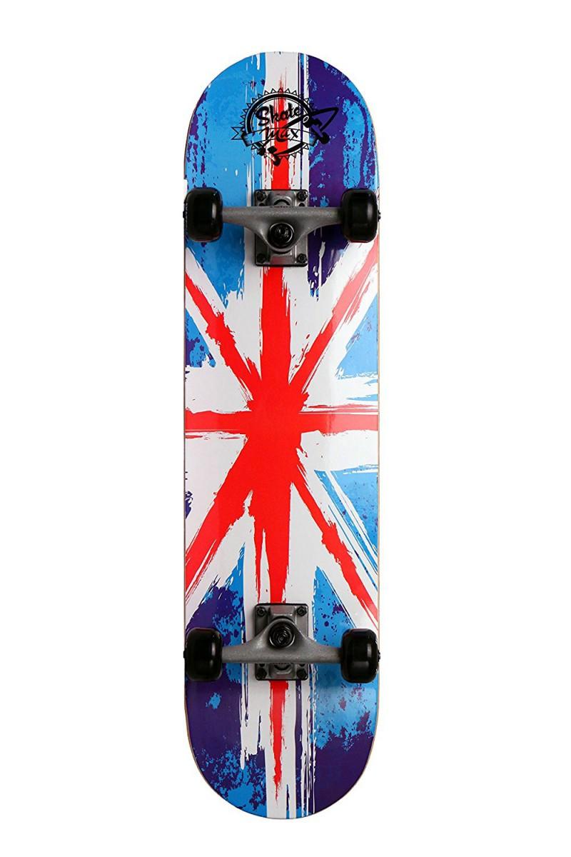 Skateboard Professionale Completo di Ruote Stylengl Bandiera Inglese Colorato