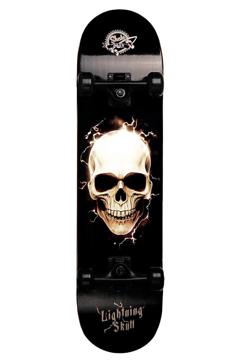 Skateboard Professionale Senior Lightning Skull Teschio Completo con Ruote