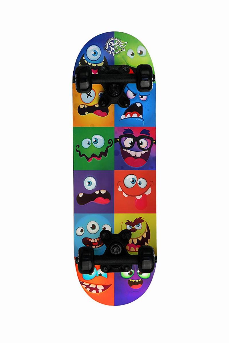 Skateboard Monster Face Junior Skatemax per Bambini Colorato Completo con Ruote