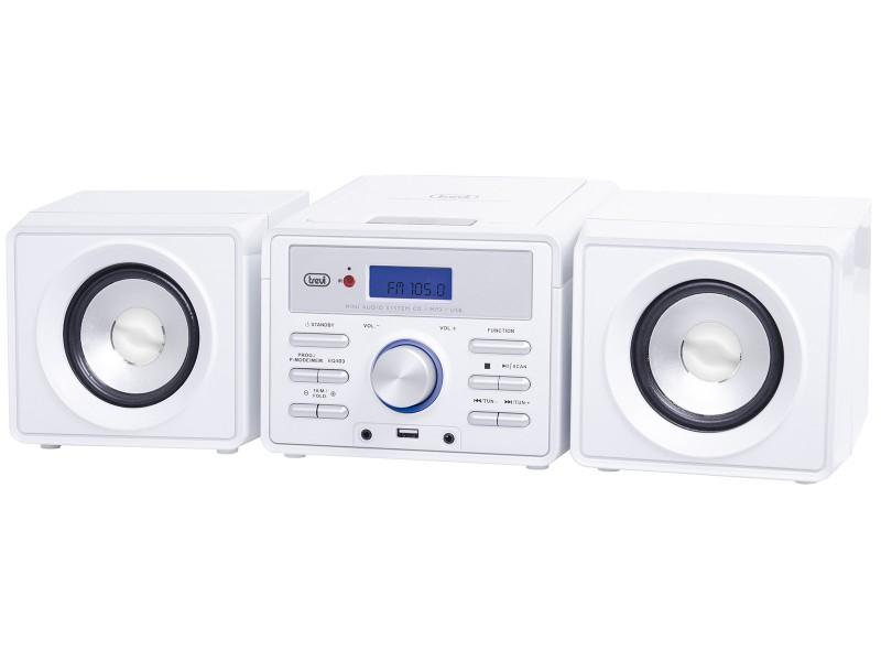Impianto Stereo Hi-Fi Altoparlanti Lettore CD Mp3 USB TREVI HCX 1030 Bianco