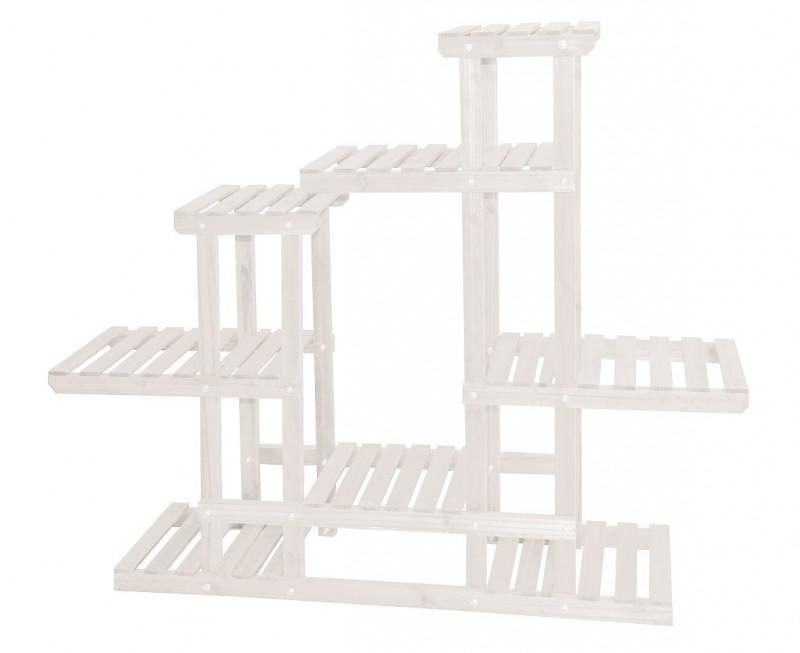 Portapiante Porta Piante Fioriera Abete Verniciato Misure 120x25x98 cm Bianco