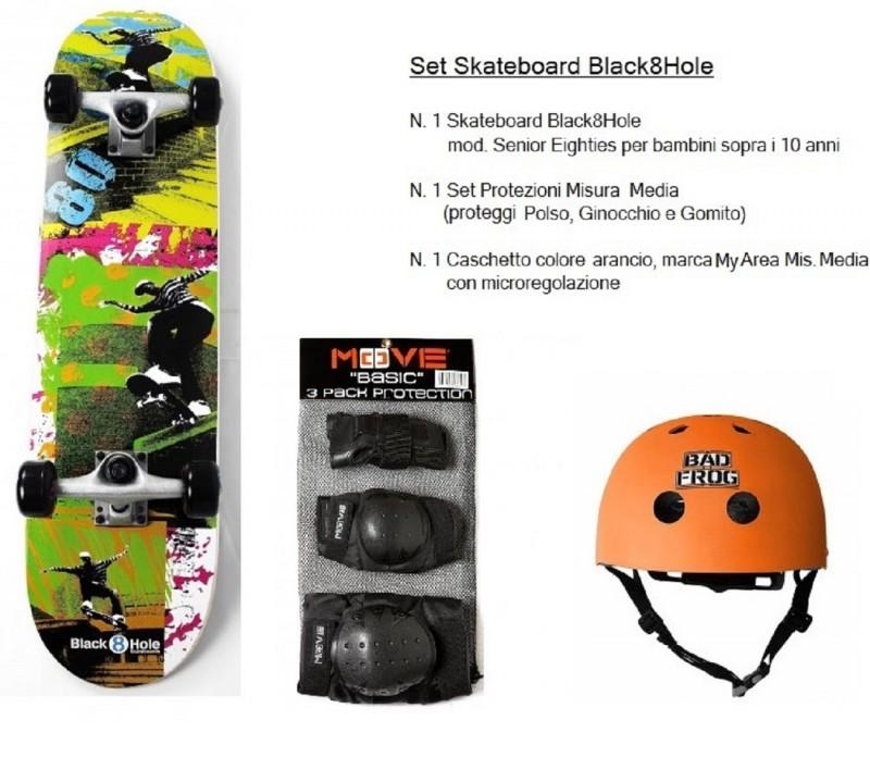 Set Junior Skateboard Eighties + Caschetto Arancio + Protezioni Bambini Ragazzi