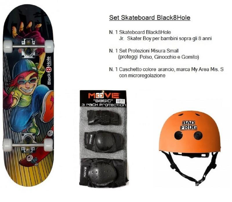 Set Junior Skateboard Skater Boy + Caschetto Arancio + Protezioni Bambini Boy