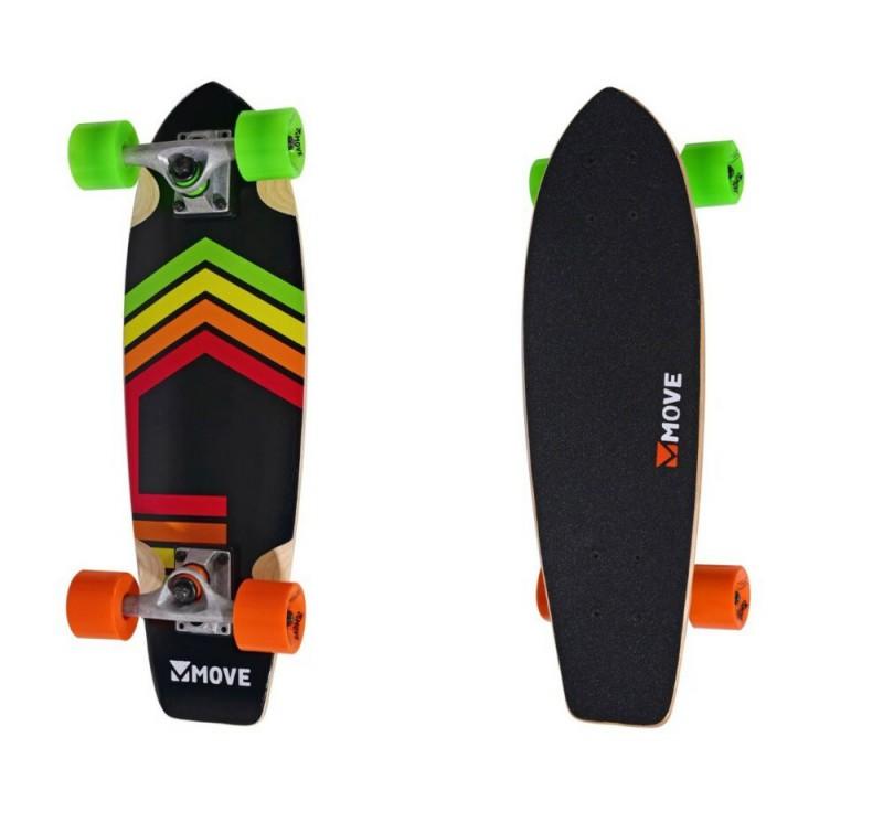 Skateboard Cruiser Neon Completo con Ruote Skate Nero Striscie Colori Extreme