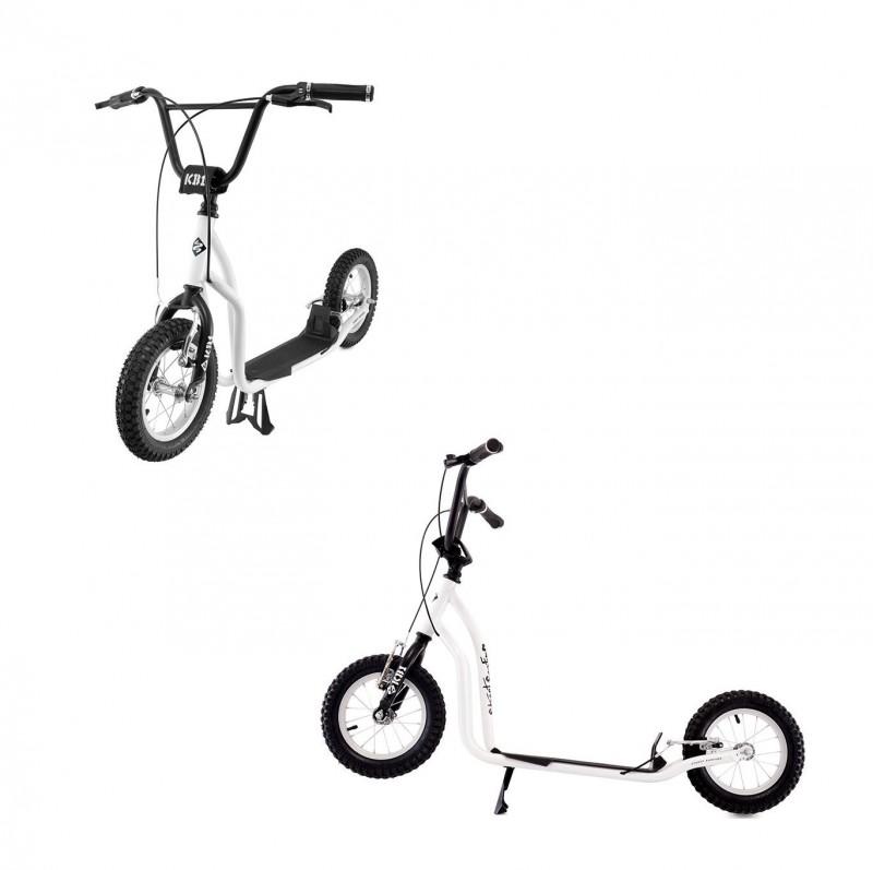 Monopattino K-Bike Junior Bianco Nero Bambini fino a 12 Anni Mis. 124x23 cm