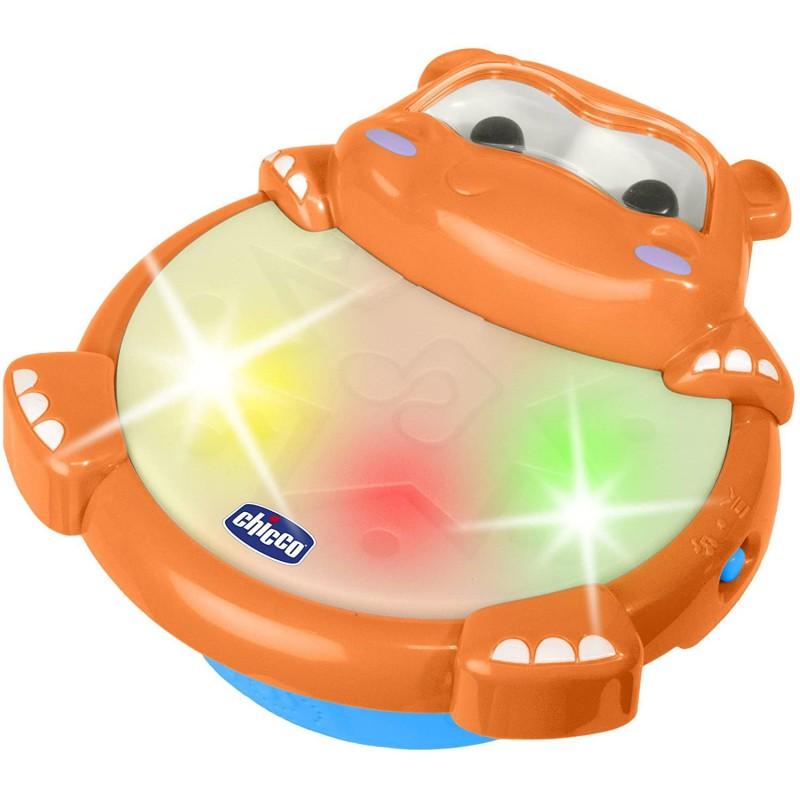Chicco Gioco Hippo Batteria Arancione Tamburo luminoso a forma di ippopotamo