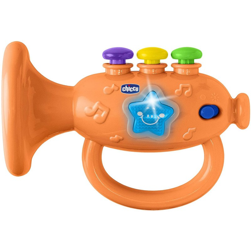 Chicco Gioco Tromba Musicale Arancione Facile da afferrare grazie alla maniglia