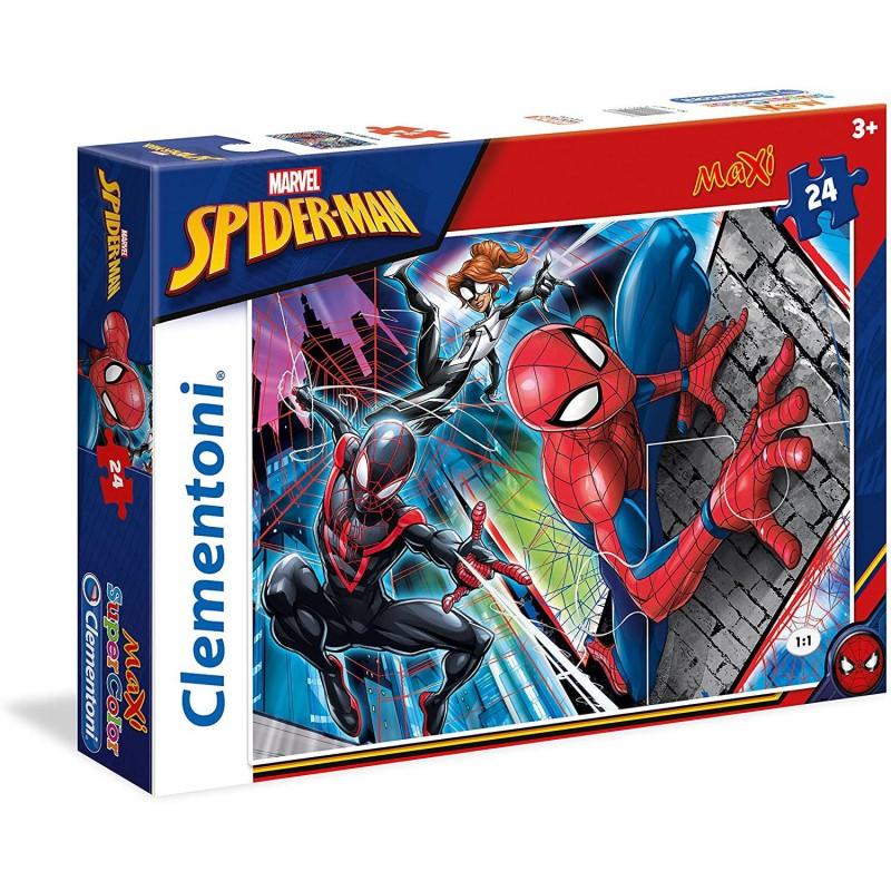Clementoni Spiderman Supercolor Puzzle 24 Pezzi 24497 per Bambini Divertente