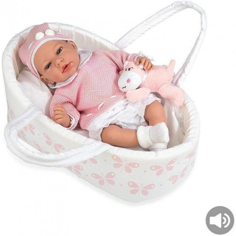 BEBÈ ROSA In Culla Sacca colore Rosa per Bambina Molto Realistico con Peluche
