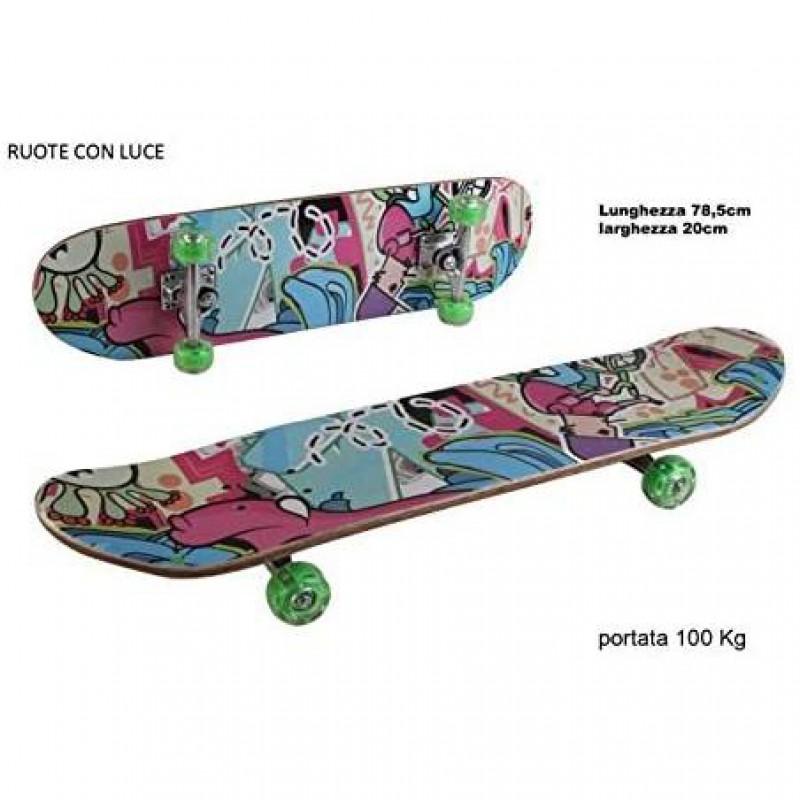 SKATEBOARD LEGNO C/RUOTE Con LUCE 232 Multicolor Disegni Colorati