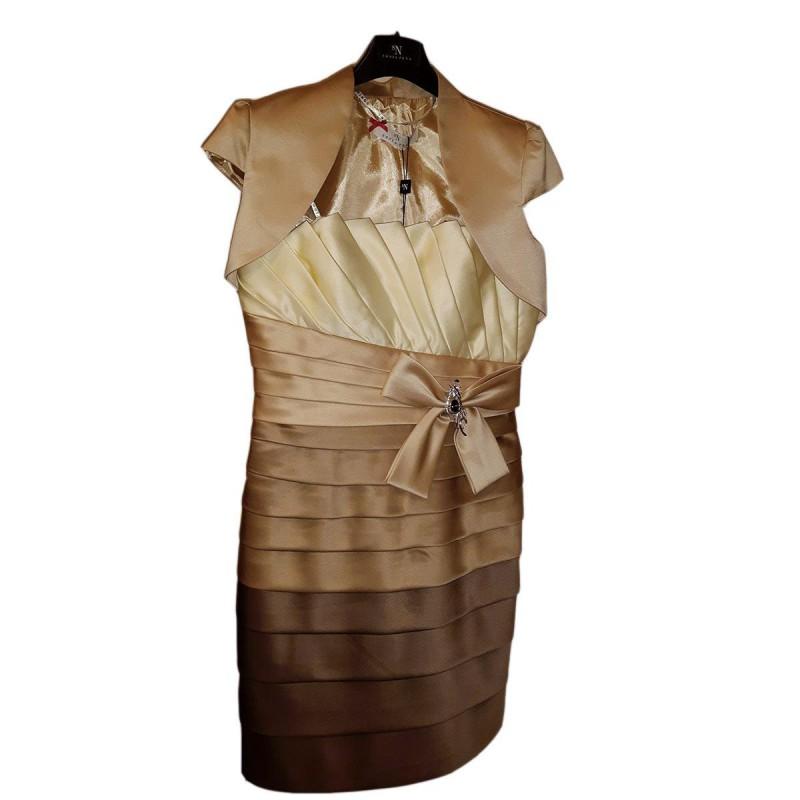 Vestiti Cerimonia 44.Vestito Abito Donna Decolte Colore Caffe Sonia Pena Taglia 44 Da