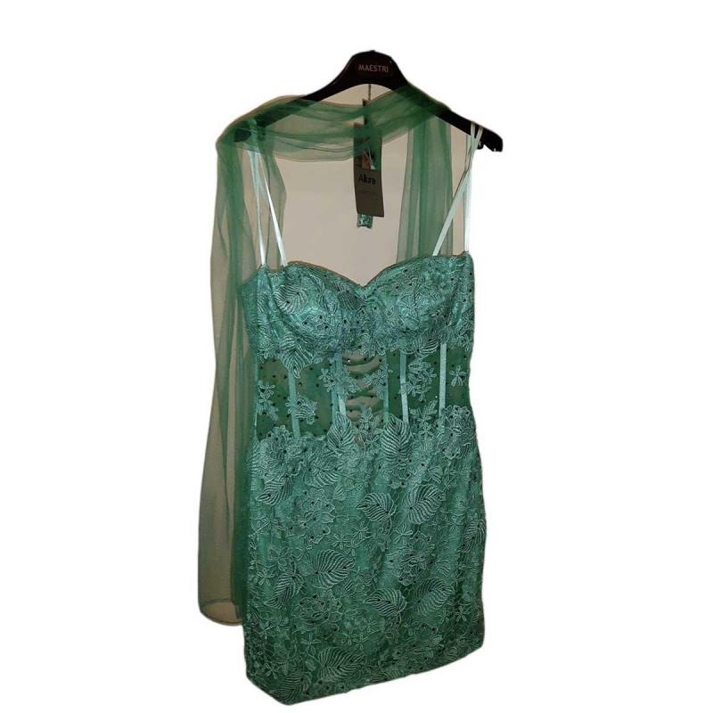 Abito vestito decoltè donna sonia pena verde Tiffany taglia 42 da cerimonia