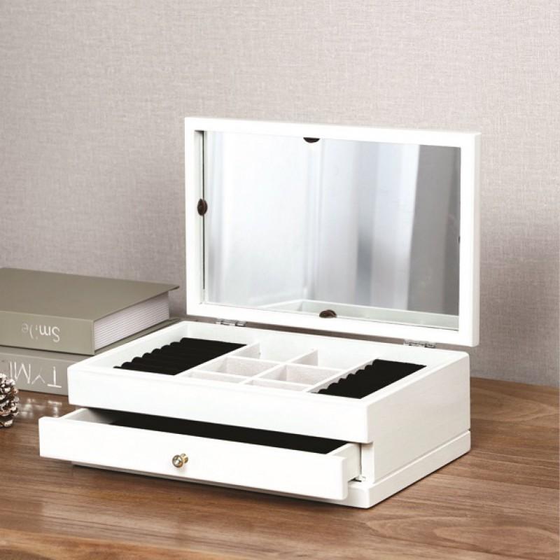 Portagioie con Specchio 30x20x12 cm 2 Scomparti in Legno Bianco