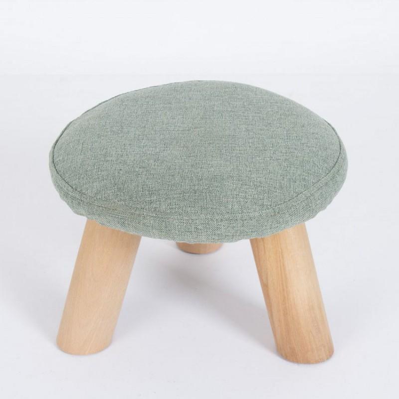 Pouf Puf Mini Tondo Legno Tessuto Verde Seduta Imbottita Moderno Home Design