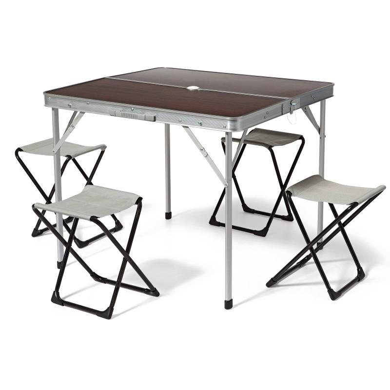 Tavolo In Alluminio Da Campeggio.Tavolo Con Sgabelli Richiudibile A Valigetta Da Campeggio Pic Nic