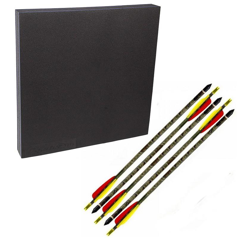 Kit tiro con l'arco battifreccia quadro schiuma sintetica frecce carbonio sport
