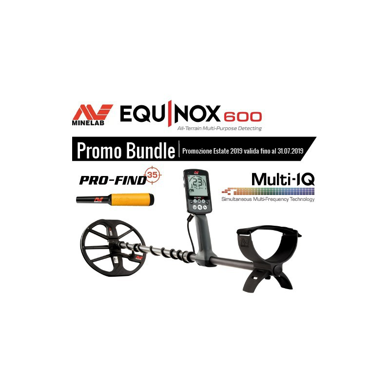 Minelab Equinox 600 Promo Estate Metal Detector Pinpointer Pro-Find 35 Acqua