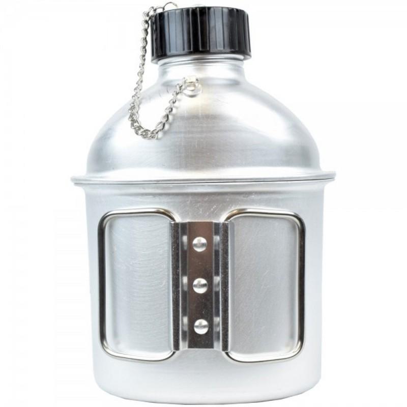 Borraccia Militare con Bicchiere Tazza 1 Litro in Alluminio per Campeggio Sport