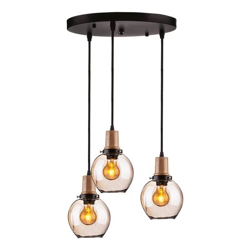Campane Vetro Per Lampadari.Lampadario Illuminazione Soffitto Pendente Nero Legno 3 Campane In