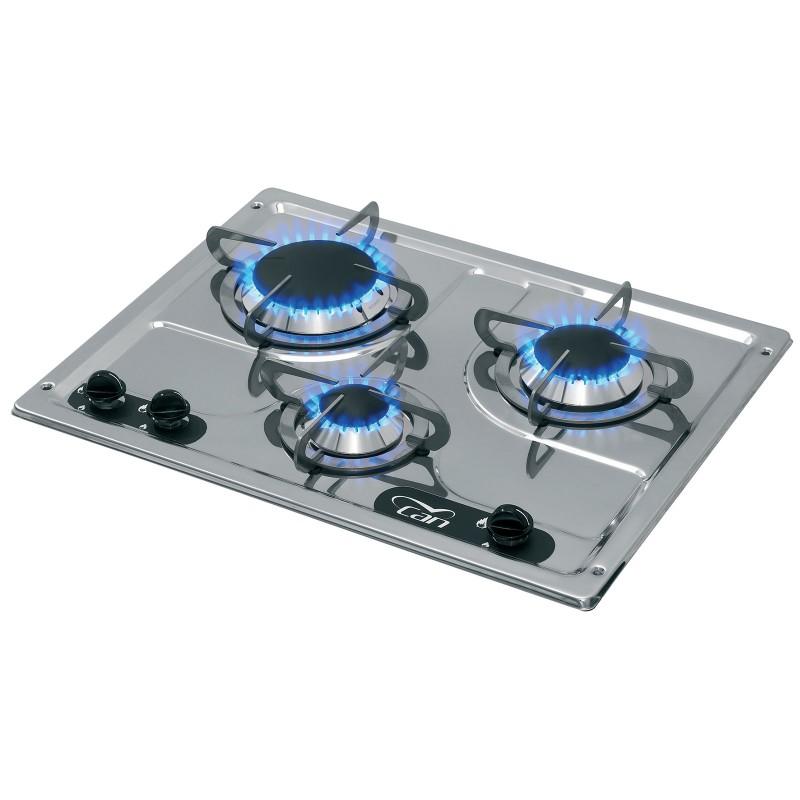 Piano Cottura Gas 3 Fuochi Incasso Acciaio Inox a Specchio Cucina ...