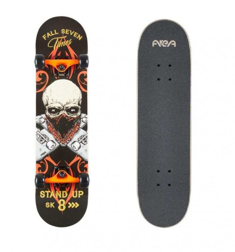 Skateboard Professionale Senior Skull Stand Up Completo con Ruote Teschio