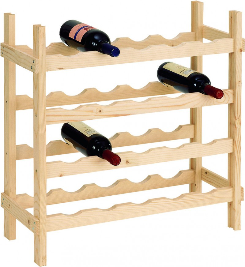Cantinetta Portabottiglie 20 Bottiglie di Vino in Legno Abete Grezzo 60x25x65 cm