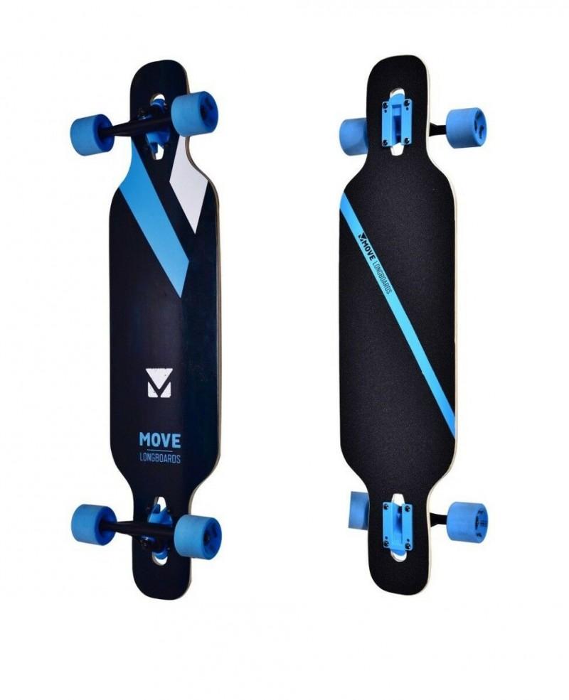 Longboard Professionale Drop Move Completo con Ruote Long Board Nero Blu