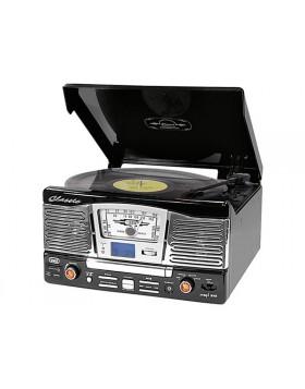 IMPIANTO STEREO HIFI GIRADISCHI VINILI 33 45 GIRI LETTORE CD MP3 USB TREVI NERO