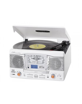 IMPIANTO STEREO HIFI GIRADISCHI VINILI 33 45 GIRI LETTORE CD MP3 USB TREVI WHITE