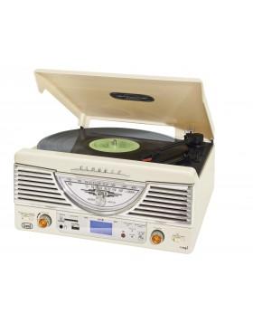 IMPIANTO STEREO REGISTRATORE MP3 GIRADISCHI VINILI 33 45 GIRI USB TREVI BIANCO