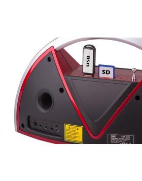 Altoparlante Boombox portatile Speaker Radio Trevi Cassa Aux Lettore Mp3 Rosso