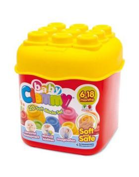Secchiello Baby Clemmy Primi Giochi Infanzia 20 Costruzioni Morbide Sicure