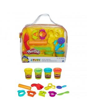Borsa con Attrezzi Gioco Bambini 4 Vasetti Pasta da modellare Colorata Play Doh