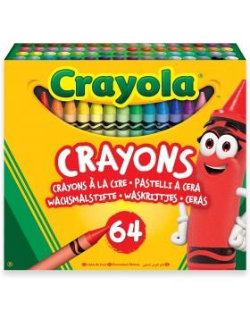 Crayola-64 Pastelli a Cera per Scuola e Tempo Libero Multicolore 52-6448