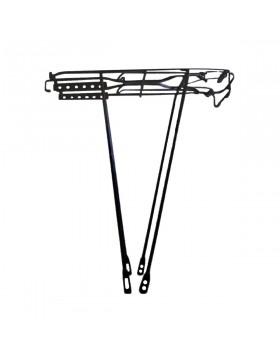 Portapacchi nero in ferro per bici con staffa a U ribaltino a molla misura 28