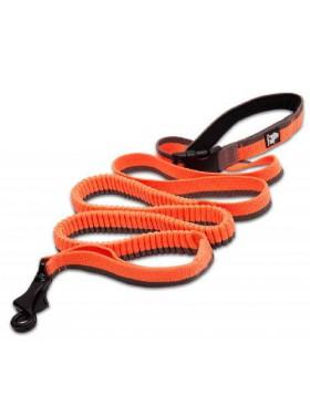 Guinzaglio elasticizzato allungabile arancio M LEOPET