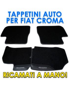 SET TAPPETO TAPPETINO 4 TAPPETI TAPPETINI PER AUTO FIAT CROMA SU MISURA RICAMATI