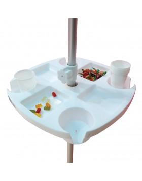 Tavolino Tavolo Vassoio 8 Vani per Ombrellone 43x43 cm Bianco Facile Installare