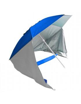 Ombrellone tenda Doppio Uso Parasole Spiaggia Campeggio Mare Blu in Alluminio