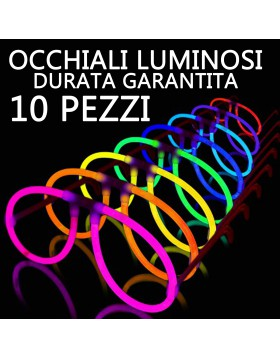 OCCHIALI MONTATURE LUMINOSE FLUORESCENTI 10 PZ STARLIGHT DJ DISCO STROBO