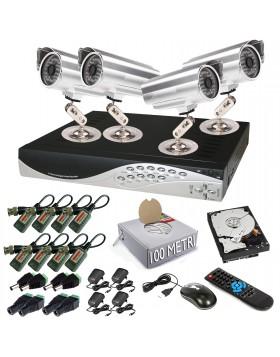 KIT DVR 4 TELECAMERA 48 LED VIDEOSORVEGLIANZA LAN HD 500GB BALUN IPHONE ANDROID
