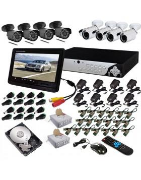 KIT DVR 8 TELECAMERA 600 TVL VIDEOSORVEGLIANZA LAN HD 500GB BALUN IPHONE ANDROID