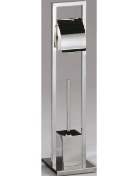 Porta Rotolo Acciaio Cromato Piantana Porta Scopino Bagno Toilette Wc Design
