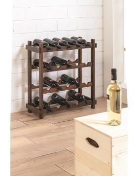 Cantinetta Portabottiglie 24 Bottiglie Vino Legno Noce 65x26x50 cm