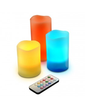Set 3 Candele Decorative Led con Telecomando RGB Multicolori RGB